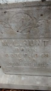 M.L. Hunt - Hunt Cemetery